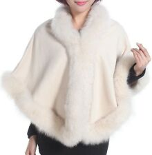 Cashmere Shawl Cape Wrap Scarf with Fox Fur Trim Ivory New Real