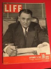 VINTAGE SEPTEMBER 14,1942 LIFE MAGAZINE FEATURING LEON HENDERSON IN VN CONDITION