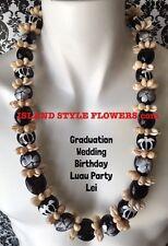 Hawaii Wedding Kukui Nut Lei Cowrie Shell Graduation Luau Necklace-BLACK SILVER