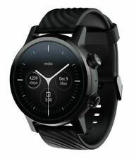 Motorola Moto 360 (3rd Gen.) 43mm Stainless Steel Case with Silicone Band - Phantom Black - (M360FS19-PB)