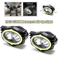 2x 6500K Motorcycle LED Spotlight Rear Mirror Lighting Beam Driving Working lamp