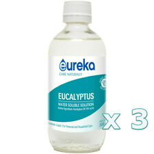 3 x New Eureka Eucalyptus Water Soluble Solution 200ml Relief of Coughs and Cold