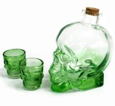 Demon Drink Set, Skull Decanter & Shot Glasses - Green, Gothic Birthday Gift