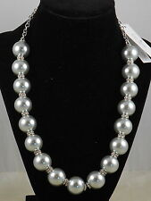 Kate Spade White Gold Plated PEARLS OF WISDOM Gray Glass Pearl Necklace $148