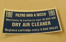 ADESIVO DECALS STICKER FIAT 500 600 850 1100 130 1500 filtro aria