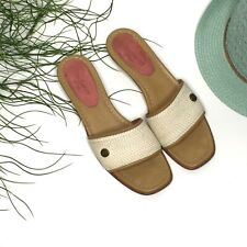 Eric Javits Slide On Kitten Heel Womens Sandals 7.5 Natural Leather