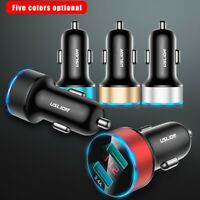 USLION Double USB 2.4A Car Charger Fast Charging LED Adapter For Cell Phone