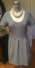 J. Crew 8 Short Sleeve Knit Fitted Black White Dress
