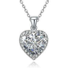 18K WHITE GOLD PLATED & GENUINE AUSTRIAN CRYSTAL & CLEAR CZ HEART NECKLACE