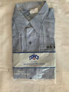 US Navy Blue Chambray DSCP Quarterdeck Collection Short Sleeve Shirt Large A-66
