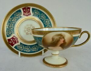 ANTIQUE ROYAL VIENNA PEDESTAL CUP AND SAUCER ~ A LOVELY DISPLAY ITEM !