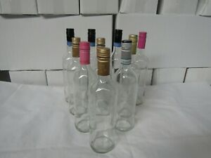 Clear Wine Bottles x 10 with tops, home brew wine making display etc Free UK P&P