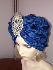 vintage inspired 1950s1960s Style blue with brooch hat turban one size 58 cm