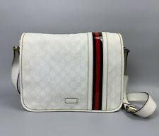 GUCCI White GG Canvas Monogram Web Stripe Bag Shoulder Crossbody Messenger