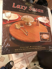 New listing Seville Classics Bamboo Lazy Susan with Swivel Base 21 Inch diameter