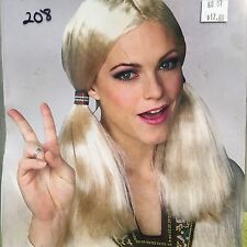 NEW RUBIES HIPPIE GIRL WIG BLONDE PIGTAILS HALLOWEEN COSTUME
