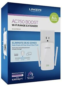 Linksys AC750 Boost Dual-Band Wi-Fi Gigabit Range Extender / Repeater RE6300