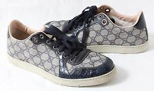 Mens Gucci shoes size 9  low top alligator leather blue grey double GG Crocodile