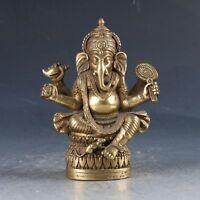 Chinese Brass Tibetan Buddhism  Handwork Carved Ganesha Statue