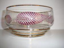 Vintage Gold Rim Glass Sweet Dish with Fern Leaf