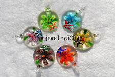 FREE Wholesale Bulk 12Ps Round Animal Flower Murano Glass Pendants Fit Necklace