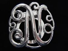 Nwt Women'S Silver Or Gold Letter 'N' Monogram Fashion Scarf Ring/Clip/Slider