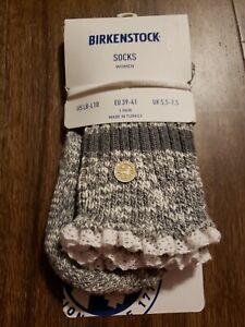 Birkenstock Fashion Slub Lace Socks WOMENS SIZE L 8-10 NWT Mid Gray Melange