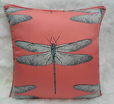 Harlequin Fabric Cushion Cover 'Demoiselle' Coral/Mint  100% Cotton  Dragonflies