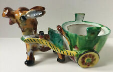 Vintage Made In Italy Ceramic Donkey And Cart Decorative Plant Pot Holder
