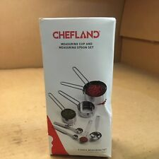 197G102 ChefLand 8-Piece Stainless Steel Measuring Cups and Measuring Spoon Set