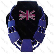 Oro Azul oscuro Moda Gran Collar de Declaración Collar Con Cuentas De madera Boho Forever 21