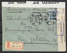 Russia covers 1917 censored R-cover RIGA to The Hague