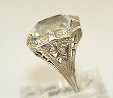 ANTIQUE EDWARDIAN STERLING SILVER FILIGREE FAUX AQUAMARINE RING SIZE 2.5
