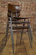 Vintage Stapelstuhl 70s Schichtholz Stuhl Industrie Design Factory Stahlrohr 1/3