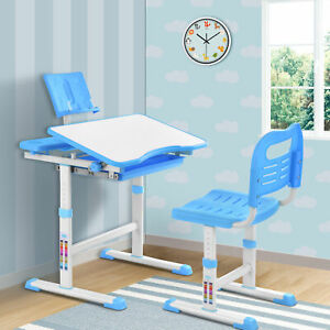 Height Adjustable Kids Study Desk & Chair Set Children Drawing Table Blue New