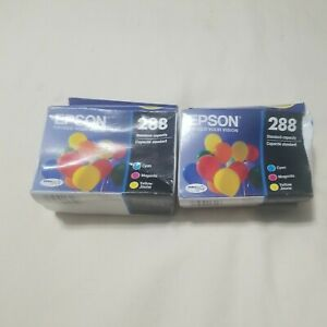 Lot of 2 Epson Genuine 288 Cyan Magenta Yellow Ink. EXP. 06/2019