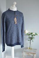BNWT WEIRD FISH Blue flecked 100% cotton sweatshirt sweater MEDIUM
