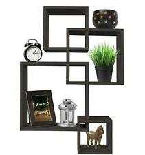 Beauty Intersecting 4 Square Floating Shelf Wall Mounted Home Furniture Decor