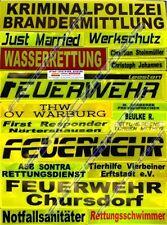 FEUERWEHR Reflex Rückenschild gelb, reflektierend, 38x8cm, Wunschtext, einzeilig