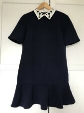 ASOS Navy Blue Shift Dress With Jewelled Collar, UK 10