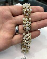 Vintage Mings Jewelry Hawaii Natural Jade 14k Gold Bracelet