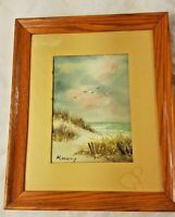 BEACH Scene oil painting Framed Signed Original 5x7 Seagulls vintage OCEAN GAILY