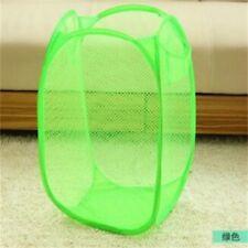 Foldable Green Pop Up Washing Clothes Laundry Basket Bag Bin Hamper Mesh Storage