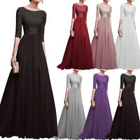Womens Lace Evening Party Ball Prom Gown Formal Cocktail Wedding Maxi Long Dress