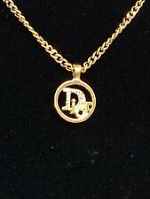 Christian Dior Authentic Gold Tone Rhinestone Logo Necklace Vintage 1960-1970's