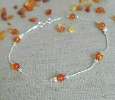 925 Sterling Silver AMBER Bracelet chain dainty Made in UK