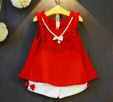 Girls Clothing Sets Sleeveless Chiffon Necklace Tops Shorts Suits Kids Clothes