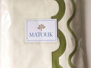 $895 RARE VINTAGE MATOUK MIRASOL QUEEN SHEET SET SCALLOP GREEN EMBROIDERY ITALY