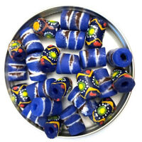 Blue African Tribal Tube Glass Beads 14mm PK4 Jewellery Making Crafts GLASS-37