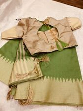 New Beautiful Semi raw Silk Saree With Temple Border And Stitched Blouse 36/38 !